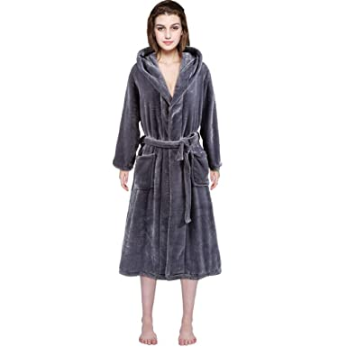0ec4855b10 Women Winter Fleece Robe Soft Plush Bathrobe Hooded Long Robe Terry Cloth  Robe (S