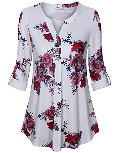 Messic Floral Tunics for Women Ladies Long Sleeve V-Neck 3/4 Roll-up Sleeve Blouses Work Dressy Ruched Flowing Tops Comfy Casual Pleats Petite Modest Boutique Tunic Shirt White Red ()
