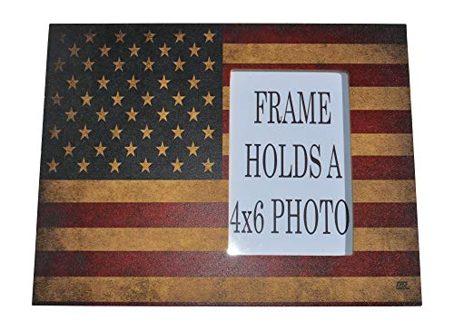 Rogue River Tactical Rustic USA Flag Picture Photo Frame Patriotic Tabletop Home Decor United States of America