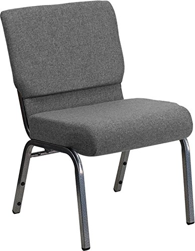 Flash Furniture HERCULES Series 21''W Stacking Church Chair in Gray Fabric - Silver Vein Frame by Flash Furniture