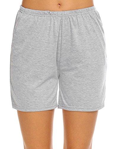 (Ekouaer Womens Casual Pajamas Scoopneck Nightwear Long Nightgown-Yarn Dyed Fabric, Gray, Small)
