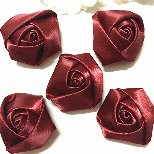 WKXFJJWZC 50pcs Big Satin Ribbon Rose Flower DIY Craft Wedding Appliques Lots Color Your Choice (Red wine)
