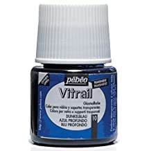 Pebeo Vitrail Stained Glass Effect Glass Paint 45ml Bottle, Deep Blue