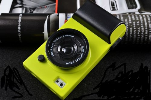 NEW!!! Cute Retro Vintage iCam Simulation Camera Hard Case Cover for Apple iPhone 4 4S 4G (INCLUDE WEARING STRIP) (NEON GREEN) (Retro Camera Iphone 4 Case)