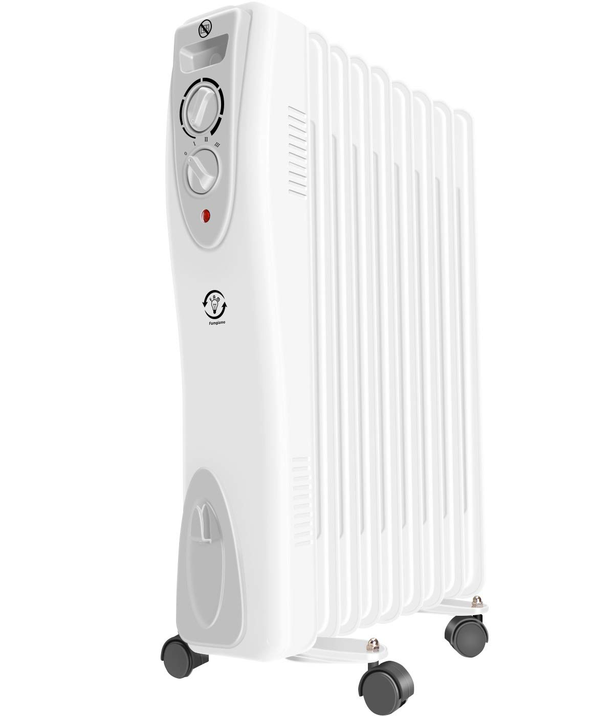 Black Daewoo 11 Fin 2500W Portable Oil Filled Radiator Heater with Thermostat /& Wheels