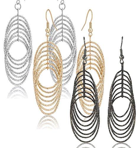 Triple Oval Earrings (Drop Dangle Earrings Set For Women Teen Jewelry Plate in Silver And Gold Diamond Cut 2 Pairs (GL3: Oval Dangle 2.9