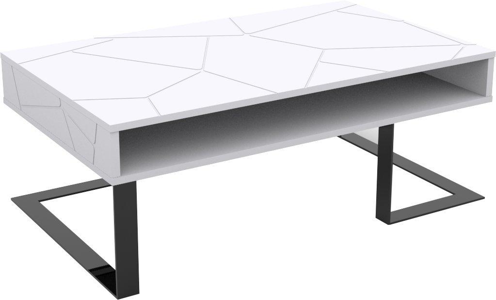 Alsapan Table Basse, Tsar, MDF, Blanc Mat, 100 x 60 x 37,5 cm: Amazon.fr: Cuisine & Maison