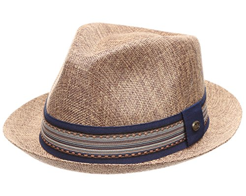 MIRMARU Men Women Summer Trilby Short Brim Lightweight Linen Fedora Hat with -