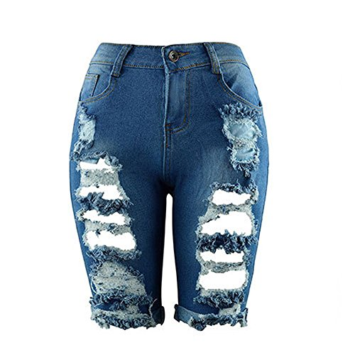 (Women Denim Shorts, JOYFEEL ❤️ Ladies Plus Size Ripped Hole Skinny Jeans Shorts Casual Knee Long Zipper Shorts)