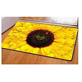 """SweetHome Sunflower Comfort Carpet Suitable For Stairway/Toilet/Study/Floor/Bedroom/Living Room/Bathroom/Kitchen/Home Decoration/Area 70 Size: 40cm x 60cm (15.7"""" x 23.6"""" inches) Materials: Flannel, super soft feeling and comfortable. Suitable for decorating home, kitchen, living room. Memory foam cushion and skid-proof backing."""