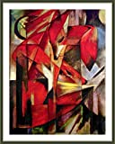 Alonline Art - Foxes Franz Marc Green FRAMED POSTER (Print on 100% Cotton CANVAS on foam board) - READY TO HANG | 20''x26'' | Wall Art Pictures Frame Framed Canvas Oil Painting Print Framed Paintings