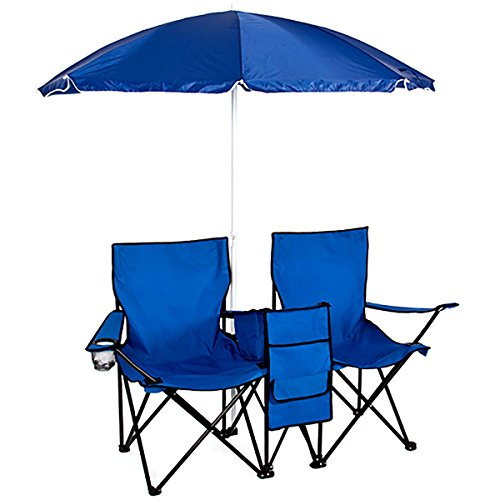 Folding Beach Camping Chair with Umbrella and Table Cooler Fold Up Picnic Fold up Chair Outdoor Family Activity at Backyard or Park