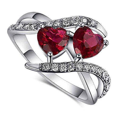 (Narica Women's Elegant 6mmx6mm Double Heart Shaped Pink Tourmaline Twist CZ Ring Band)