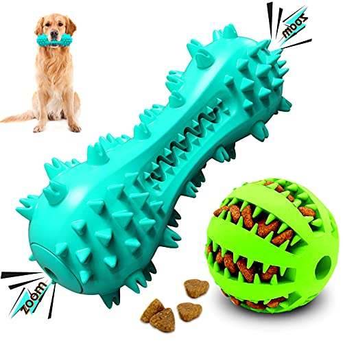 YEYUNTO Dog Toys for Aggressive Chewers,Large Medium Breed Dog Chew Toys-Almost Indestructible/Squeaky/Interactive/Tough Durable Dog Toys -2 Pack Teeth Cleaning Toys