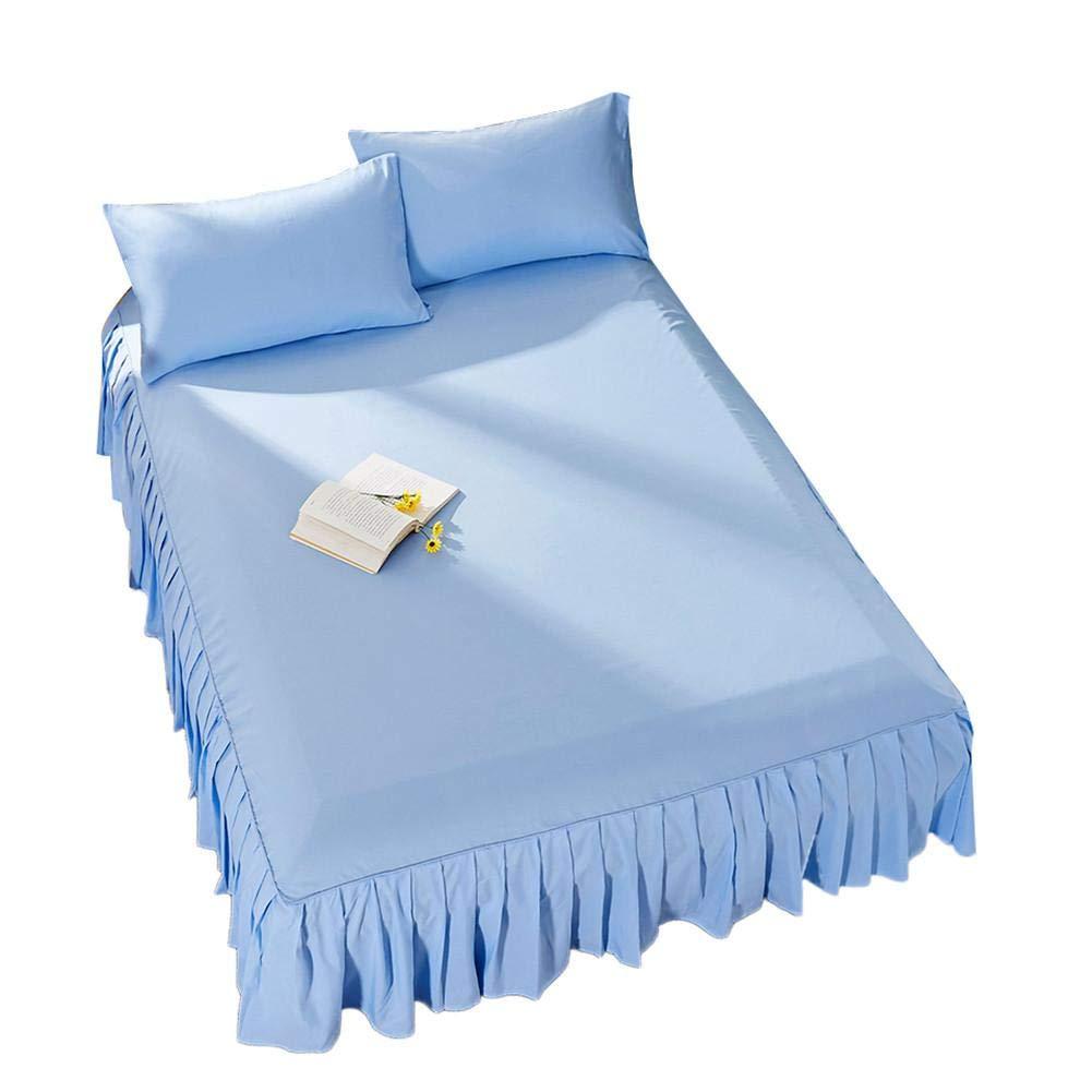 myonly Ruffle Bed Copertura Lenzuolo Gonna Bet Princess Tinta Unita per Letto Queen Fondazione Lenzuolo 152, 4x 203, 2x 38, 1cm Camel