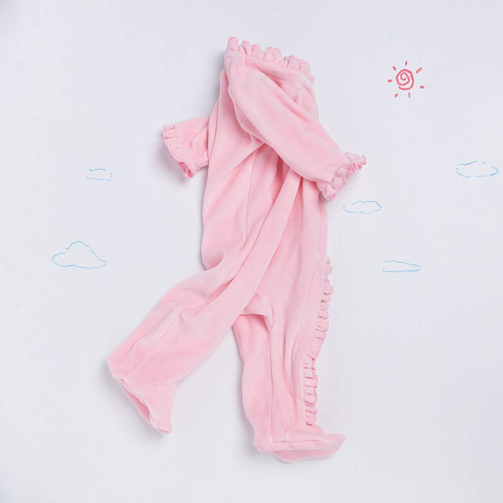 Yukeyy Soft Flannel Jumpsuit for Newborn Baby Long Sleeve Christmas Cosplay Costume Sleepwear Pink