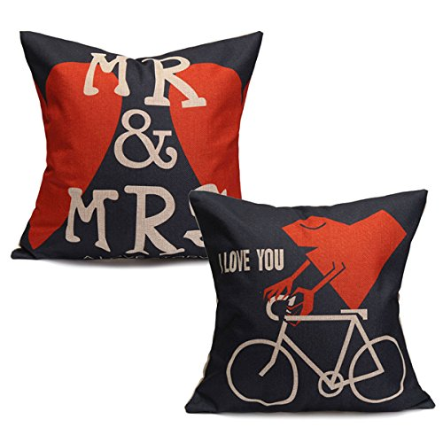 Creative Lovers Cotton Linen Pillow Cases Mr&Mrs Heart Bed Sofa Cushion Cover(Random: Pattern)