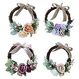 Prettyia Pieces 4 Vintage Rattan Silk Flower Door Wreath Ring Hanging Wedding Decorations 26 x 26 x 9cm