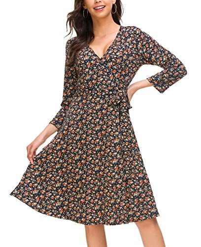 ROOSEY Women's Casual Wrap V Neck 3/4 Sleeve Floral A Line Casual Dress (PAT3,S)