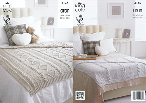 King Cole Recycled Cotton Aran Knitting Pattern for Large Cable Knit Blankets / Throws (4145)
