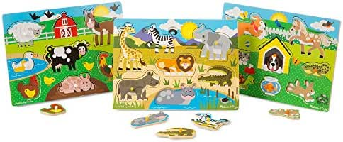 Melissa & Doug World of Animals Wooden Peg Puzzles Set - Pets (8 Pieces), Farm (8 Pieces), Safari (7 Pieces)