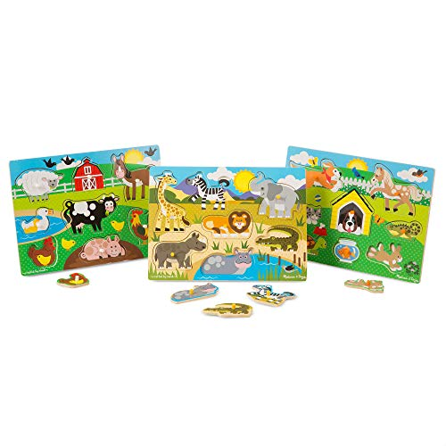 Melissa & Doug World of Animals Wooden Peg Puzzles Set - Pets (8 Pieces), Farm (8 Pieces), Safari (7 Pieces), Great Gift for Girls and Boys - Best for 2, 3, and 4 Year Olds