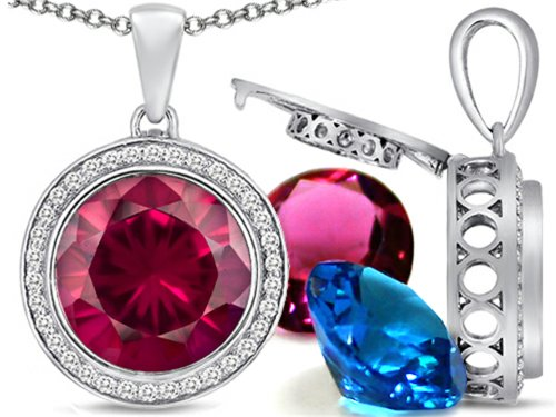 (Switch-It Gems Interchangeable Simulated Ruby Halo Pendant Necklace Set Round 12mm Simulated Birth Months)