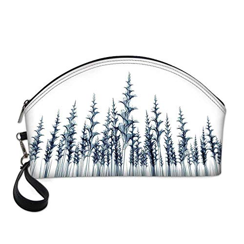 Xray Flower Small Portable Cosmetic Bag,X ray Picture of Forest Tall Trees Illustration of Nature Blueprint Decorative Art For Women,One size ()