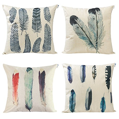Set of 4 Feather Print Decorative Throw Pillow Covers, 18 x 18 inch Cotton Linen Cushion Covers