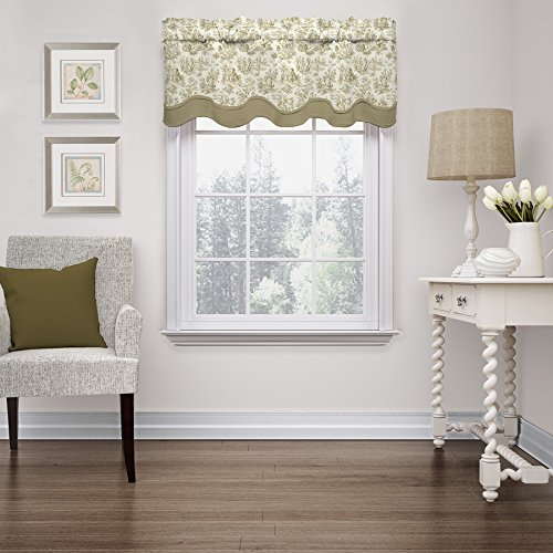 Valance Toile Brown - Waverly Charmed Life Linen Rod Pocket Valance, Light Brown