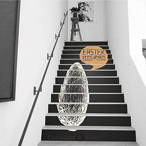 (Self-Adhesive Stair Riser Decal - Stair Stickers Decals Wallpaper for Walls Kitchen Bathroom Stair Decals Home Decorations,13 PCS,Easter Egg with Humorous Phrase on)