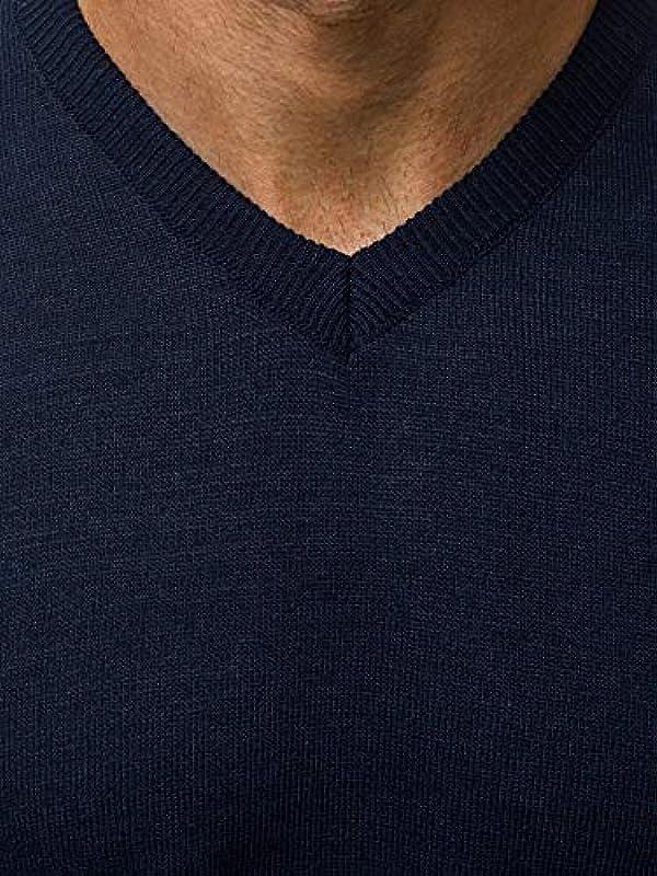 MOODOZ Męski sweter dziergany sweter z delikatną dzianiną sweter nowoczesny Basic dekolt w serek jednokolorowy codzienny O/KV004: Odzież