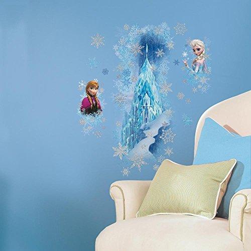 11 Piece Kids Blue White Purple Frozen Ice Palace Wall Decals Set, Disney Themed Wall Stickers Peel Stick, Elsa Anna Castle Snowflakes Princess Cute Decorative Graphic Mural Art, Vinyl