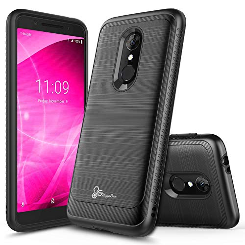 (Revvl 2 Case (T-Mobile), NageBee [Carbon Fiber] Brushed Defender Dual Layer Shockproof Hybrid Cover Case for (T-Mobile) Alcatel REVVL 2 (2018) -Black)