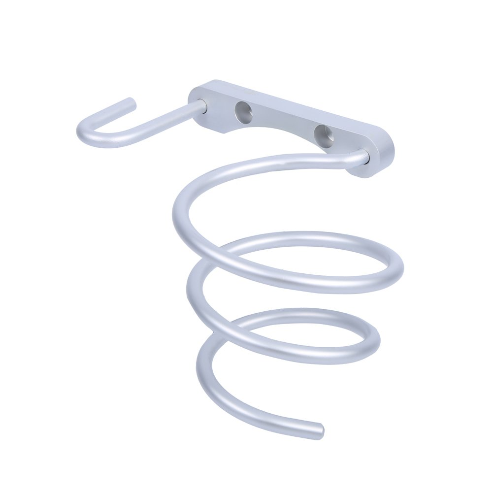 Aluminum Spring Style Hair Dryer Holder Wall Rack Mount Bathroom Accessories Shelf Drying Rack with Plug Holder
