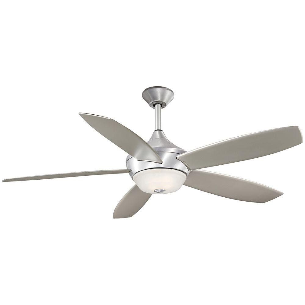 52'' Indoor/Outdoor 5-Blades in Brushed Aluminum Ceiling Fan Light Kit