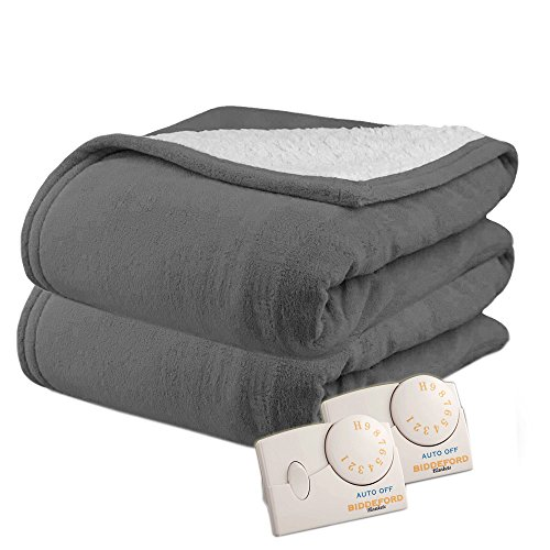 Pure Warmth by Biddeford MicroPlush Sherpa Electric Heated Blanket King Grey