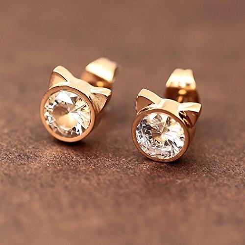 HANFLY Cat stud earrings Cat Ears Earrings Fashion earrings Rhinestone stud earrings (White Rhinestone) by HANFLY (Image #3)