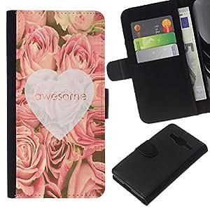 KLONGSHOP // Tirón de la caja Cartera de cuero con ranuras para tarjetas - amor rosas impresionantes corazón primavera rosa - Samsung Galaxy Core Prime //
