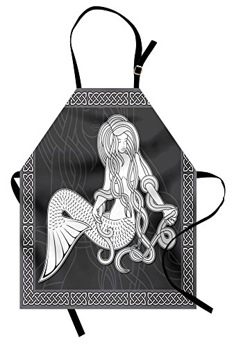 Ambesonne Mermaid Apron, Retro Art Illustration of a Mermaid Brushing Hair and Border with Celtic Patterns Unisex Kitchen Bib Apron with Adjustable Neck for Cooking Baking Gardening, - Celtic Patterns Costume