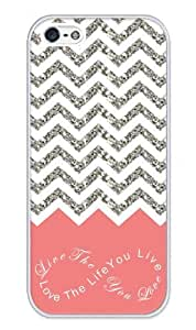 Chevron Pattern Grey White Live the Life You Love, Love the Life You Live- Apple iPhone 4 Case - iPhone 4s Case - Hard Plastic Case