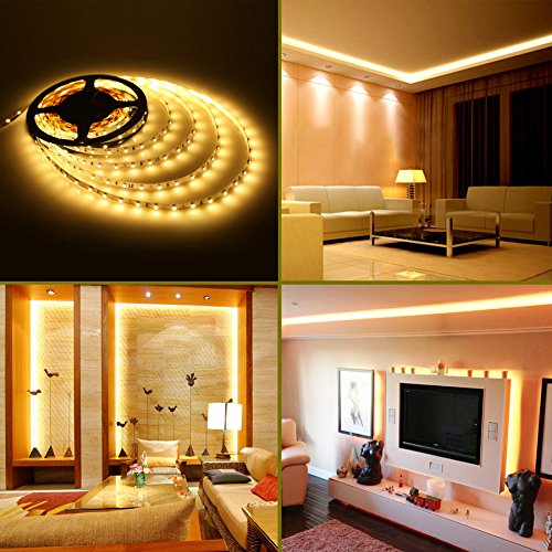 Le lampux 12v flexible led strip lights led tape warm white 300 le lampux 12v flexible led strip lights led tape warm white 300 units 3528 leds non waterproof light strips pack of 164ft5m amazon aloadofball Image collections
