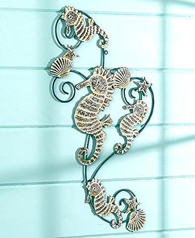 The Lakeside Collection Metal Seahorses Wall Sculpture - Seahorse Wall Decor
