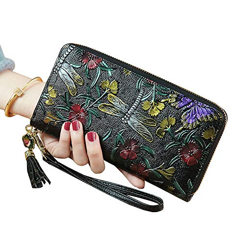 Painted Flower Wallet Leather Hand (Blansdi Women Floral Long Wallet Purse Genuine Leather Clutch Zipper Closure Card Holder Organizer Wristlet Dragonfly)