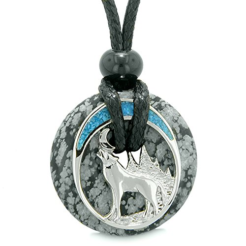 Unique Magic Howling Wolf Moon Amulet Lucky Donut Snowflake Obsidian Spiritual Protection Powers Necklace (Snowflake Obsidian Protection)