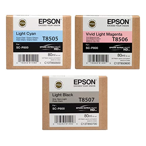 Epson Stylus SURECOLOR P800 SD Yield Ink (80 ml) Cartridge Set (Light Cyan Vivid Light Magenta Light Black)
