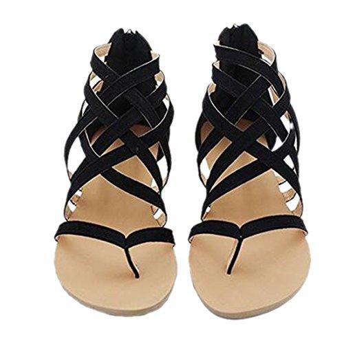 Women's Bohemia Strappy Beach Flip Flop Sandals Gladiator Flat Sandal Shoes black 7 IAoSkWTqUD