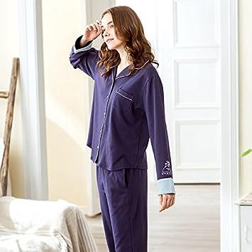 DavDoy Primavera 2018 nuevo pijama de algodón de manga larga de algodón coreano femenino cardigan ocio