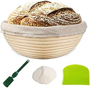"Bread Proofing Basket 8""   Natural Elasticated Linen Banneton Liner   Ergonomical Designed Dough Scraper   Handwoven Rattan Cane Bread Maker for Artisan Breads"