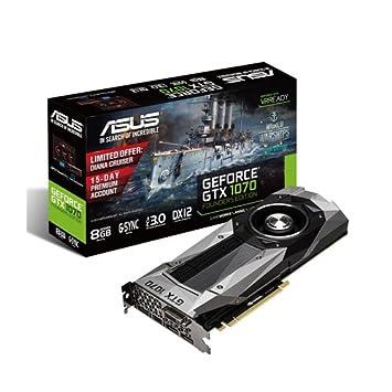 ASUS GTX1070-8G - Tarjeta gráfica (NVIDIA GeForce GTX 1070, 8 GB GDDR5, PCI Express 3.0, DVI-D, HDMI, DP)